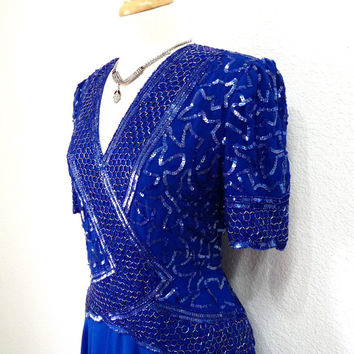 1980s Royal Blue Dress Beaded Sequin by Brilliante Vintage 80s Prom Party Formal Evening Gown Large