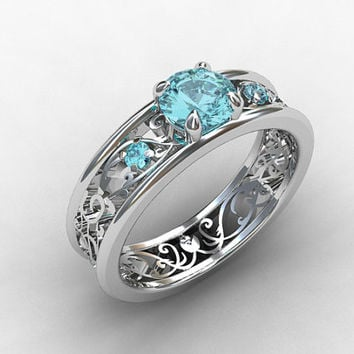 aquamarine engagement ring filigree ring vintage style blue engagement unique wedding - Aquamarine Wedding Rings