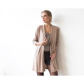 Short Knitted beige cardigan with pockets SALE