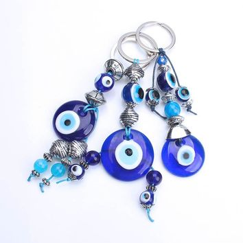 2017 new arrival 1pc Turkey evil eye lobster clasp keyring evil eye keychain blue  glass beads for friend gift