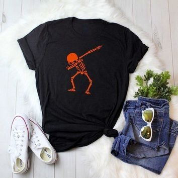 Unisex Casual Halloween T-Shirt Skull Halloween Pumpkin Tumblr Tee girl Black Slogan Grunge Popular Top Orange Graphic Drop Ship