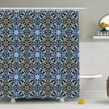 Royal Palace Boho Mandala Blue Fabric Shower Curtain