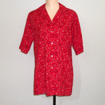 Vintage 70s Shirt Women Bandana Clothing 1970s Country Clothing Western Shirt Casual Red Shirt FREE SHIPPING XL 1X Womens Plus Size Clothing