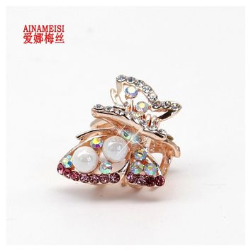 Butterfly Flowers Rhinestone Alloy Crab Pearl Hairpin Claw Clip Headwear Accessories Health & Beauty