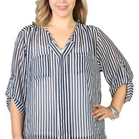 plus size chiffon split front top with roll sleeves with high low hem