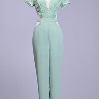 Tell Me Something Lace Jumpsuit - Mint