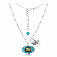 Jacksonville Jaguars Silver and Crystal Necklace Jewelry. NFL Jewelry