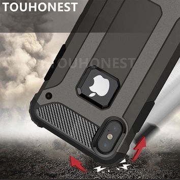 For iPhone X 8 plus XS Max XR Case Hard Rugged Case For iphone 7 plus 6S 6 5S SE 5 Hybrid Armor Phone Cover Double Protect Slim