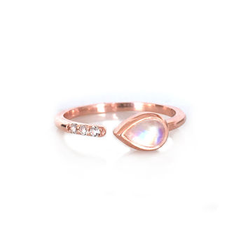 Rose Gold Rainbow Moonstone and Topaz Siren Ring