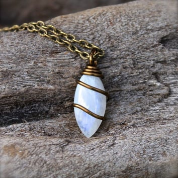 Natural Moonstone Necklace // Wire Wrapped Stone Jewelry // Rainbow Moonstone Jewelry // Wiccan Necklace // Healing Stone // Gypsy Jewelry