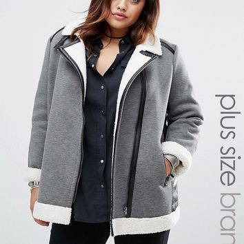 Alice & You Faux Shearling Jacket With Pu Trim Detail at asos.com