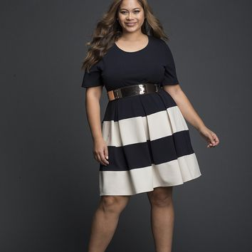 Box Pleated Grey & White color block Dress
