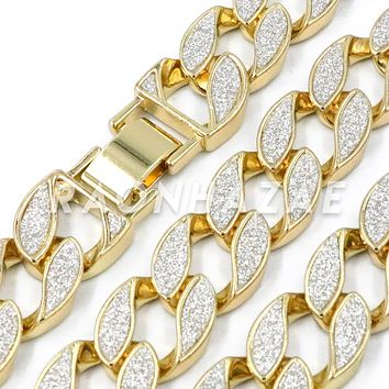 "Iced Out 14K Gold 18mm Glitter Sandblasted 8.5"" - 36"" Flat Miami Cuban Chain"