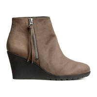 H&M - Wedge Heel Boots - Dark beige - Ladies