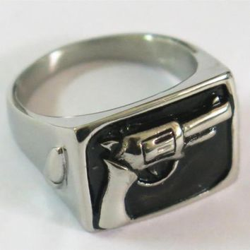 HAND PISTOL GUN STAINLESS STEEL RING size 14 silver metal S-507 2nd amendment
