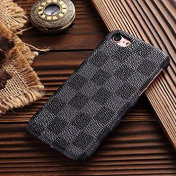 HeiL iPhone7/8 TPU (US Deliver Guarantee Fulfilled by Amazon) New Elegant Luxury PU Leather Checker Pattern Classic Style Cover Case for Apple iPhone7 iPhone8 (Grey)