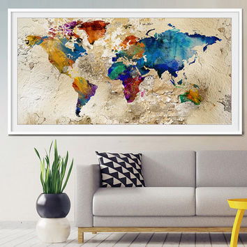 World map poster, Map poster, World map wall art, LARGE MAP, World map, large world map, watercolor world map, push pin travel map-x108