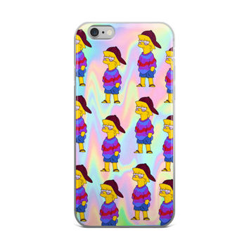 Cool Lisa Simpson Collage Tie Dye Hippy Hipster Lisa Sky Blue & Pink iPhone 4 4s 5 5s 5C 6 6s 6 Plus 6s Plus 7 & 7 Plus Case