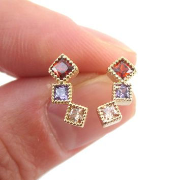 Small Minimal Rhinestone Ear Climber Up The Ear Stud Earrings