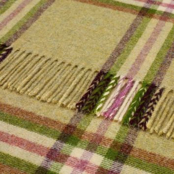 Dales Collection - Shetland Pure New Wool - Settle Check - Lime - Throw Blanket