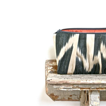 silk ikat clutch bag chevron print by eclu on Etsy