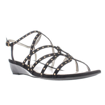 Anne Klein Mallory Studded Wedge Sandals, Black, 11 US
