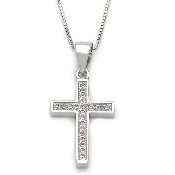 Sterling Silver 04.173.0011.18 Fancy Necklace, Cross Design, with White Micro Pave, Polished Finish, Silver Tone