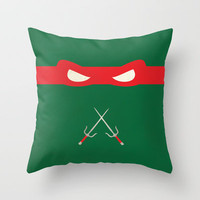 Red Ninja Turtles Raphael Throw Pillow by 1986