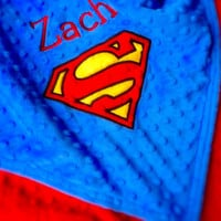 Personalized baby blanket- cobalt blue yellow and red superman- stroller blanket