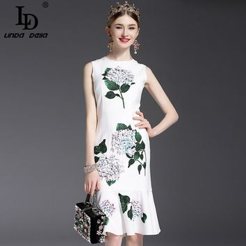 High Quality 2017 Designer Runway Summer Dress Women's elegant Mermaid Sleeveless Whiter Floral Printed Appliques Casual Dress