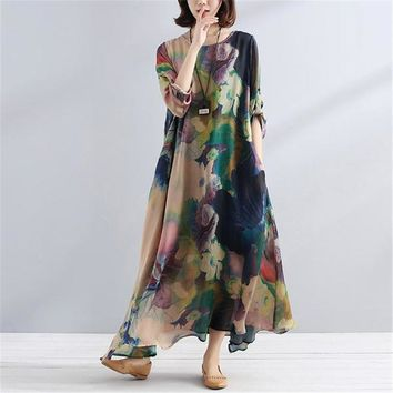 BUYKUD 2018 Summer Women Floral Printed Elegant Long Dress Round Neck Half Sleeve Loose Retro Maxi Thin Dresses With Pockets