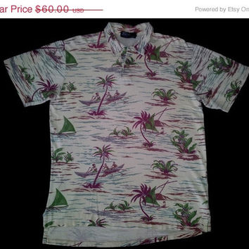 ON SALE Rare Polo Ralph Lauren Burgundy Hawaiian Surfing Stadium P Wing Polo Shirt Size Xl