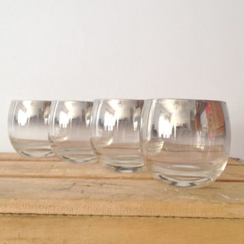 Roly Poly - Dorothy Thorpe - Silver Rimmed - Mad Men - Drinking Glasses - Mad Men Retro 1960's Style - Set of 4