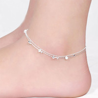 2016 Women Silver Plated Anklet Bead Ankle Bracelet Fashion Anklets for Women New Foot Jewelry Hot Sale Body Chains