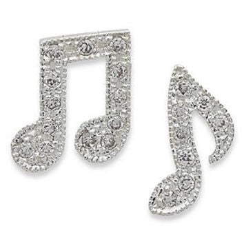 Unwritten Sterling Silver Earrings, Crystal Accent Music Note Earrings - Earrings - Jewelry & Watches - Macy's