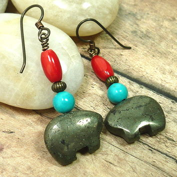 Zuni Bear Golden Pyrite Turquoise Red Coral Native Dangle Earrings
