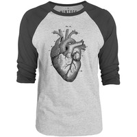 Mintage Heart Anatomy 3/4-Sleeve Raglan Baseball T-Shirt (Grey Marle / Charcoal)