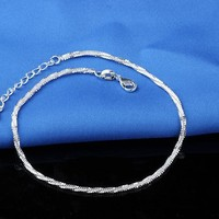 Gift Jewelry Stylish New Arrival Shiny Cute Sexy Water Droplets Pendant Chain 925 Silver Ladies Anklet [6768774855]
