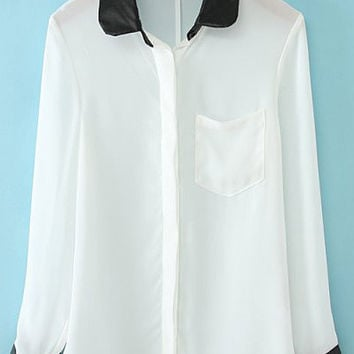 White Sheer Long Sleeve Blouse with Color Black Details
