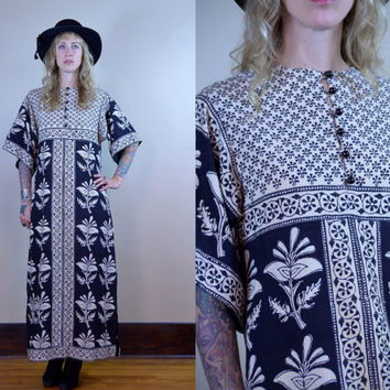 Vintage 70's Indian Cotton Hand Blocked Bohemian & White Dashiki Dress