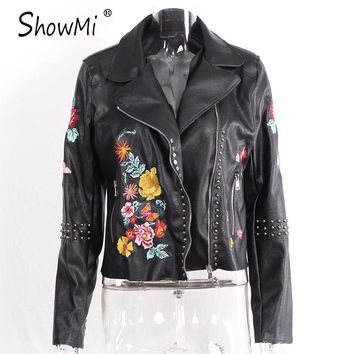 ShowMi Women Leather Jacket 2017 Floral Female Coat Spring Autumn Zipper Soft PU Rivet Black Ladies Flower Embroidered Jackets