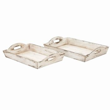 Distressed Wooden Finish Serving Trays With Handles, White, Set Of 2 By Benzara