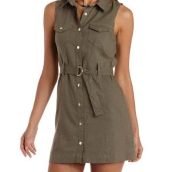 Olive Sleeveless Linen Shirt Dress by Charlotte Russe