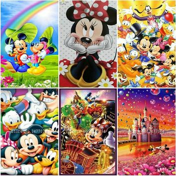 Diy 5d Diamond Painting Cross Stitch Disney castle Diamond Embroidery Mickey Minnie mouse icon square drill resin mosaic pattern