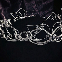 Silver Bridal Crown - Renaissance Tiara with Flower and Leaf Design, Custom Made - Great for Princess, Queen, or Fairy Costumes & Weddings