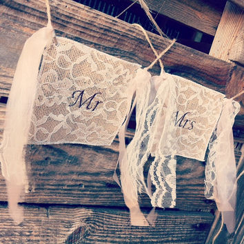 Burlap and Lace Mr and Mrs Wedding Signs Burlap Wedding Decor Rustic Wedding Mr Sign Rustic Wedding Mrs Sign Mr and Mrs Chair Signs