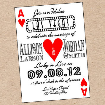 Playing Card Wedding Invitation or Save the by DecorableDesigns