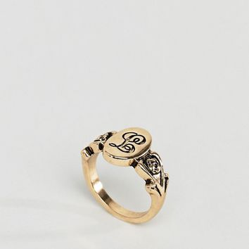 ASOS DESIGN ornate monogram 'L' initial ring at asos.com