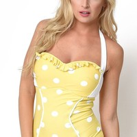 The Marilyn Retro Vintage Polka Dot Swimsuit in Yellow
