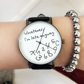 Women Casual Funny Quote Leather Strap Watch